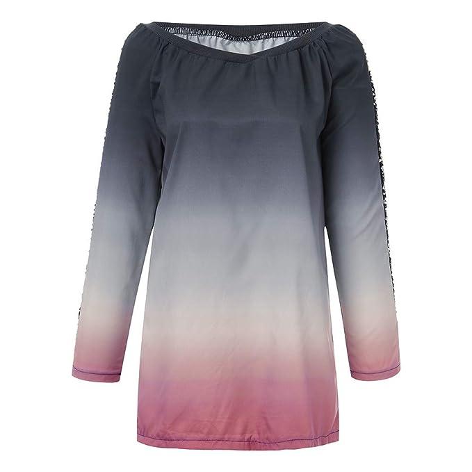 Yvelands Camisetas degradadas en Color de Lentejuelas para Mujer Tallas Grandes con Cuello en v Tops de Manga Larga Blusa: Amazon.es: Ropa y accesorios