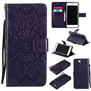 iPhone 7 Plus Case, iPhone 8 Plus Case, Love Sound [Wrist Strap] [Stand] Emboss Sunflower PU Leather Wallet Flip Protective Case Cover with Card Slots for Apple iPhone 7 Plus / iPhone 8 Plus (Purple)
