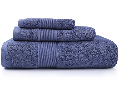 KALIXIN Towels 700 GSM Premium Hotel & Spa Bath Towels Set,3 Pack Towels with Washcloth, Hand Towel, and Bath Towel- 100% Cotton,Highly Absorbent & Eco Friendly,Wedgewood