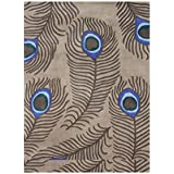 Alliyah Mocha Wool Modern Luxurious Peacock Feathers Decorative Accent Rug (5  x 8 )