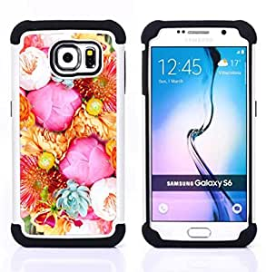 For Samsung Galaxy S6 G9200 - flower blossoms pink basket blue Dual Layer caso de Shell HUELGA Impacto pata de cabra con im??genes gr??ficas Steam - Funny Shop -