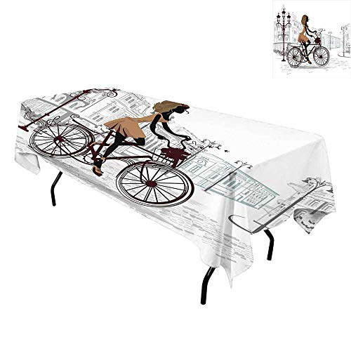 Teen Room Decor,Washable Table Cover,Young Girl in Paris Streets with Bike French Display,Tablecloths for Parties,W60 x L84 Inch Chestnut and Light Brown Pearl -