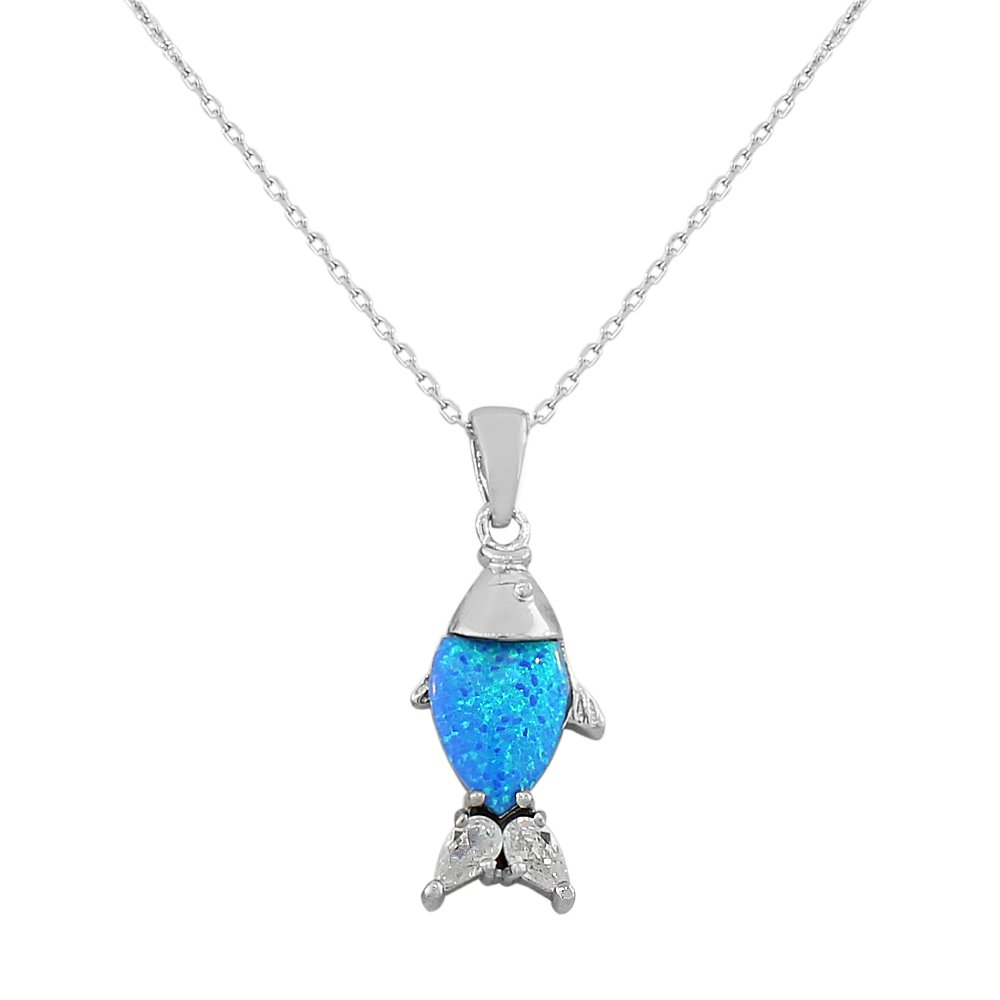 925 Sterling Silver CZ Blue Turquoise-Tone Fish Marine Simulated Opal Pendant Necklace