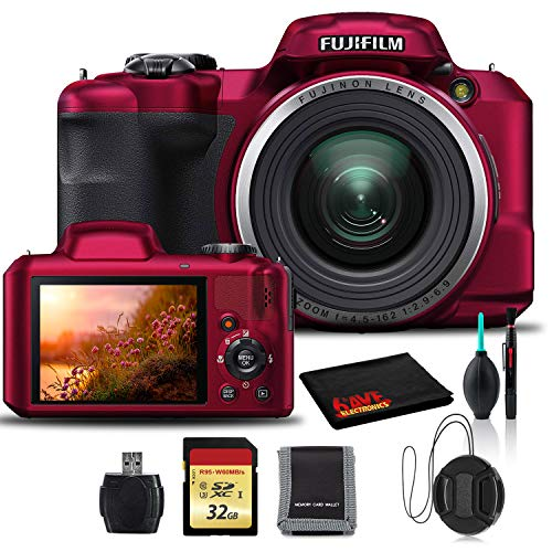 Fujifilm FinePix S8600 Digital Camera (Red) with Cleaning Kit, 32GB Memory, USB Card Reader, and Memory Card Wallet