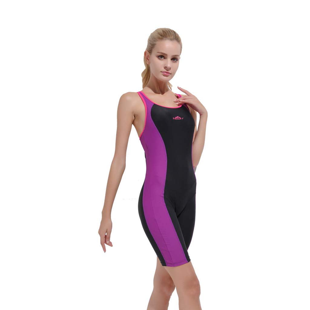 YEZIJIN Women Swimsuit Sexy One Piece Bodysuit Swimwear Professional Sport Bathing Suit Wetsuit top Long/Short Sleeve Purple by Yezijin_Swimsuit (Image #1)