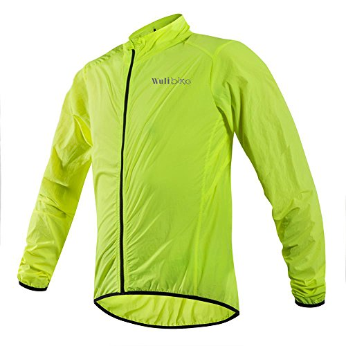 Ultra-light Comfy Cycling Jacket Lightweight Water Repellent Skin Coat Long Sleeve Sports Jacket Men Breathable Packable Safe Fluo Green