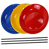 SchwabMarken 3 Spinning Plates / Juggling Plates with 3 Plastic Sticks, Mixed Colors, Sold