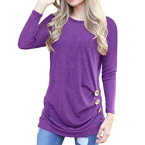 Button Trim Blouse, Women's Casual Long Sleeve Round