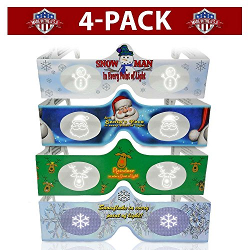 3D Christmas Glasses - 4 Pack Variety - Turn Holiday Lights Into Magical Images For A Christmas Experience. Our USA MADE Holographic Glasses Are Excellent For Entertaining Family, Friends & - Top Companies Eyewear