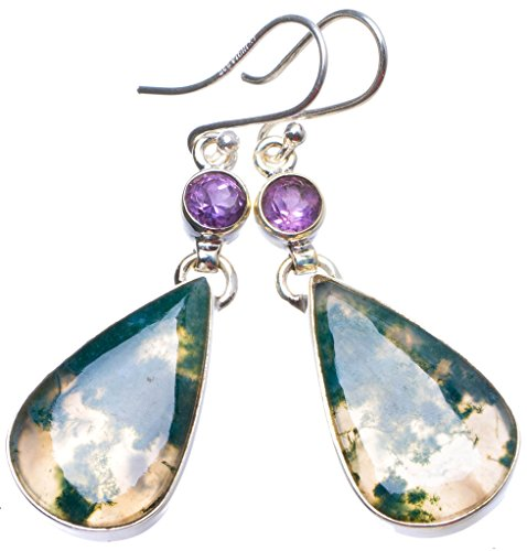 StarGems(tm) Natural Moss Agate and Amethyst Handmade Unique 925 Sterling Silver Earrings 2