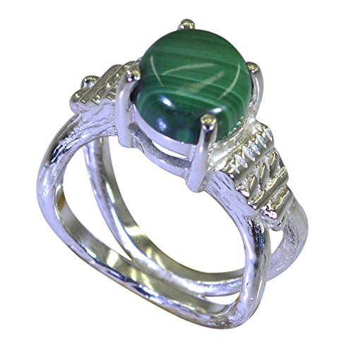 Jewelryonclick Natural Malachite 925 Sterling Silver Engagement Rings For Women Size 5,6,7,8,9,10,11,12 ()