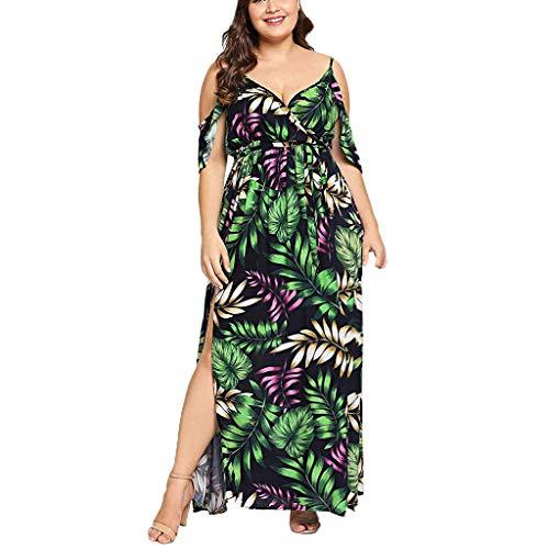 - Botrong Plus Size Dresses for Women, V-Neck Casual Bohemian Strapless Strap Waist Split Ruffled Long Dress (Green,XL)