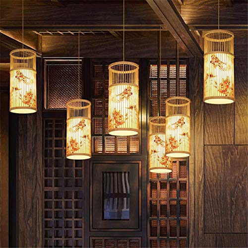 Chandelier Bamboo Weaving Wire Mesh Lantern Internal Peony Flower Cylindrical Natural Wood Small Hanging Light Chrome Flush Mount Ceiling Lighting E27 Pendant Fixture for Restaurant Hallway