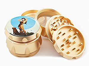 "Pin Up Girl Design Premium Grade Aluminum Tobacco,Herb Grinder -4Pcs Large (2.5"" Gold) # GLD-100314-044"