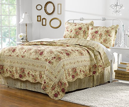 English Rose King Quilt - Greenland Home Antique Rose King Quilt Set