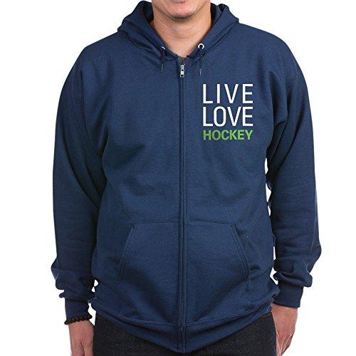 (CafePress - Live Love Hockey Zip Hoodie (dark) - Zip Hoodie, Classic Hooded Sweatshirt with Metal Zipper)