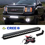 """iJDMTOY 20"""" 100W High Power Single-Row CREE LED Light Bar w/ Lower Bumper Insert Mounting Brackets and On/Off Switch Wiring Kit For 2009-2013 GMC 1500 or 2008-2014 2500 3500 HD"""