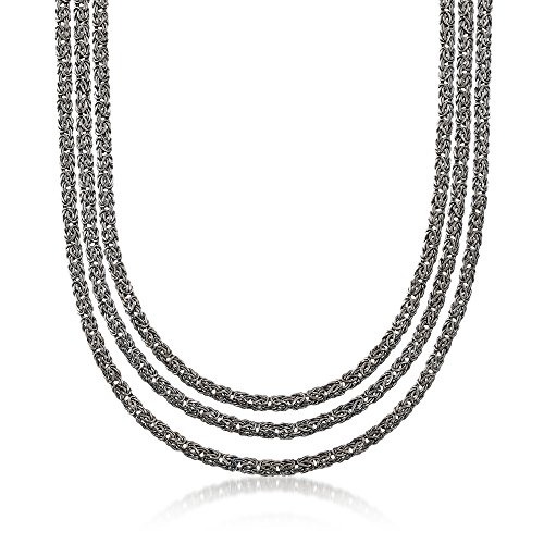 Ross-Simons Sterling Silver Three-Row Byzantine Necklace in Black ()