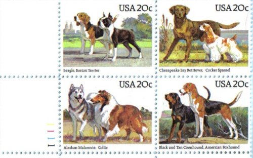 American Dogs Plate Block of 4 x 20 Cent US Postage Stamps Scott 2101a (Stamp Postage Spaniel)