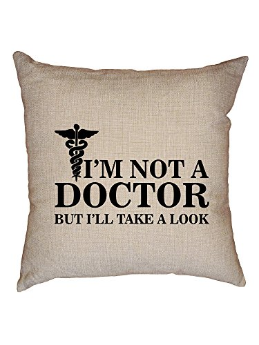 Hollywood Thread Funny Fake Doctor Gyno Let Me See Decorative Linen Throw Cushion Pillow Case with Insert by Hollywood Thread