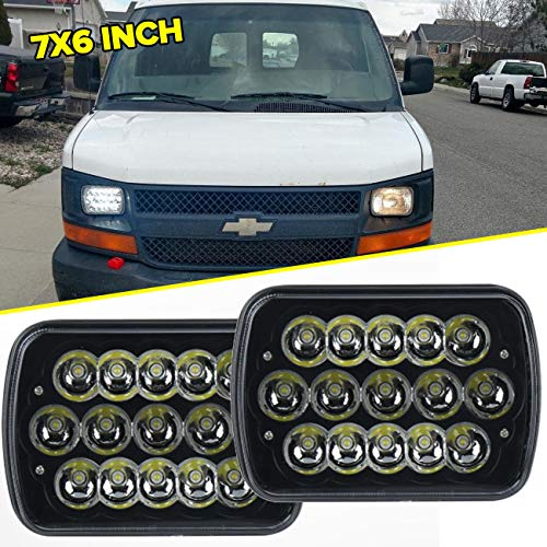7 x 6 45W 15-LED replacement Sealed Beam Black Housing Headlight H6052 H6054 H6014
