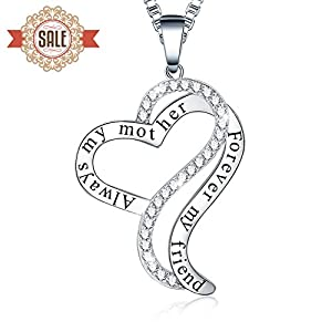 """12 Days of Deals - Ado Glo """"Always My Mother Forever My Friend"""" Love Heart Pendant Fashion Jewelry Necklace - Women Birthday New Years Eve Xmas Christmas Day Gifts for Mom"""