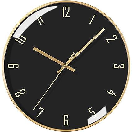cda6f9220128 Sunjun Reloj de Pared Moderno Redondo Mudo Dial de Metal Dorado silencioso  con Cristal Dial Negro