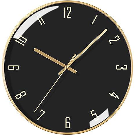 Sunjun Reloj de Pared Moderno Redondo Mudo Dial de Metal Dorado silencioso con Cristal Dial Negro