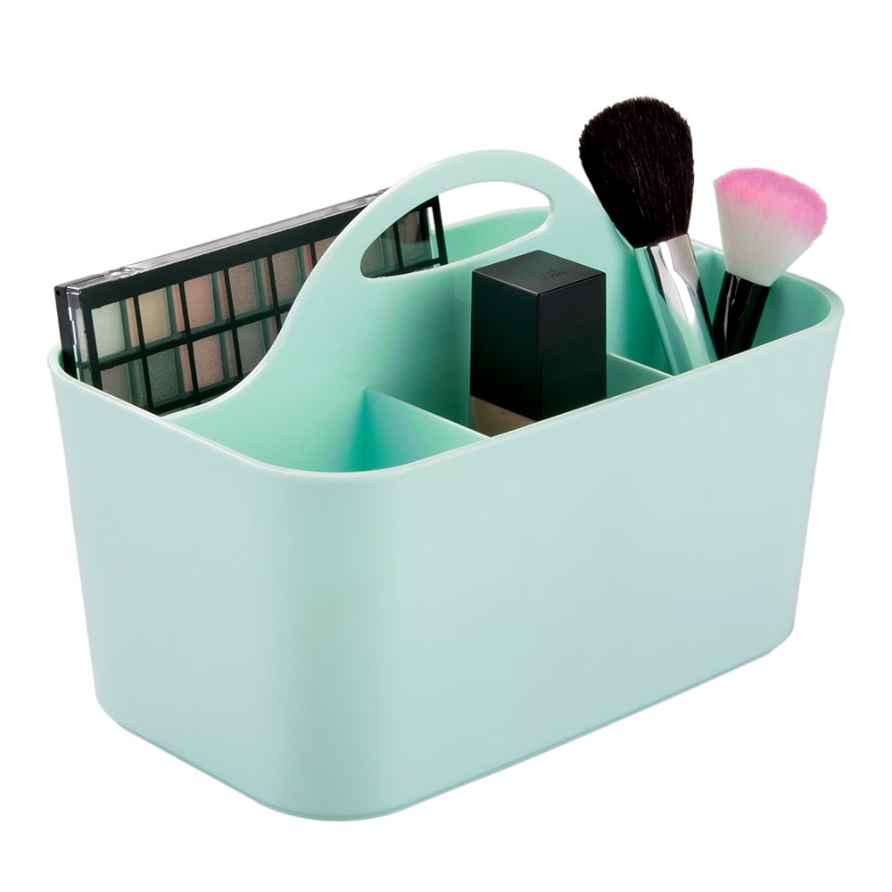 mDesign Plastic Portable Makeup Organizer Caddy Tote, Divided Basket Bin Handle Bathroom Storage - Holds Blush Makeup Brushes, Eyeshadow Palette, Lipstick - Small, Mint Green MetroDecor 0828MDC