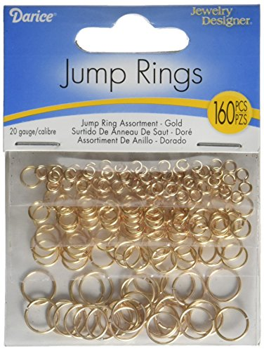 - Darice BF1049 Jump Rings - 160 Piece Package - Assorted Sizes - 20 Gauge - Gold