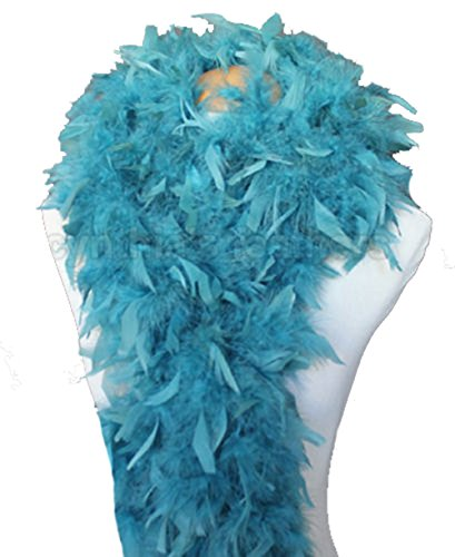 Cynthia's Feathers 80g Turkey Chandelle Feather Boas Over 30 Color & Patterns (Teal) Flapper Boa