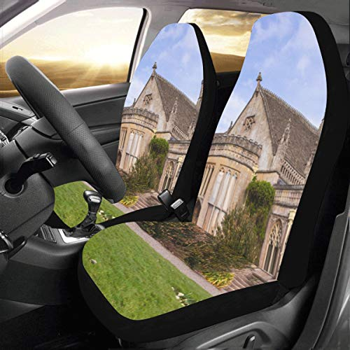 Romance Gothic Architecture Church Custom New Universal Fit Auto Drive Car Seat Covers Protector for Women Automobile Jeep Truck SUV Vehicle Full Set Accessories for Adult Baby (Set of 2 - Leather Bristol Seat