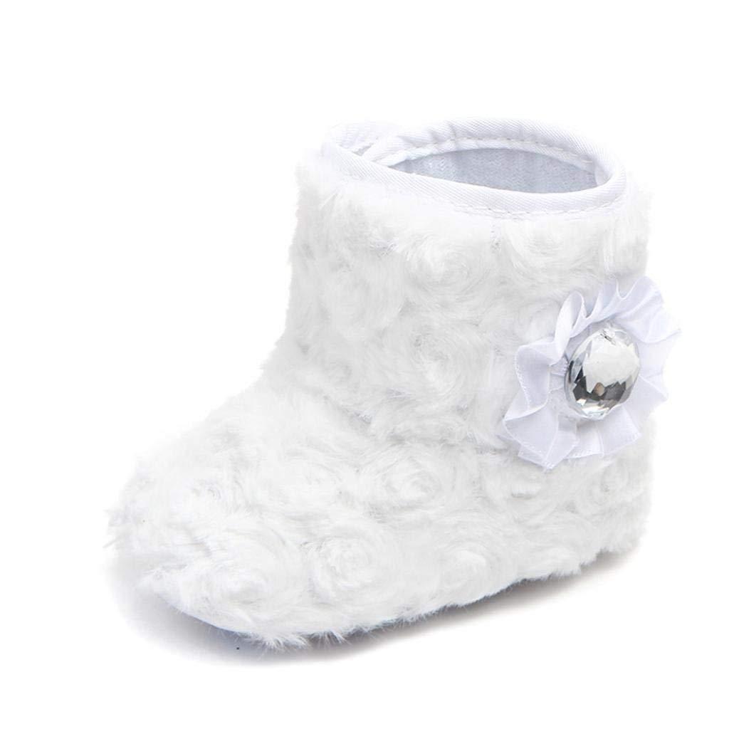 Qiusa Chaussures de réchauffement pour bébé, pour Les 0-12 Mois bébé, Mode Nouveau-né garçon Fille Mignonne Infantile Enfant en Bas âge Bottes de Neige de Semelle Souple