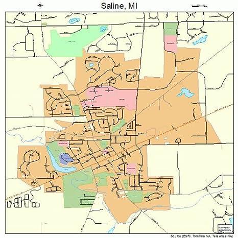Amazon.com: Large Street & Road Map of Saline, Michigan MI