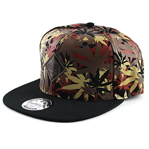Unisex Hip Hop Marijuana Weed Leaf Dancer Snapback Hat, Adjustable Baseball Cap, Brown