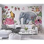 Carta Da Parati 3D Fotomurali Fiore Elefante Uccello Rosa Camera da Letto Decorazione da Muro XXL Poster Design Carta…