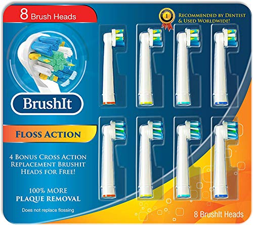 MelMel Replacement Brush Heads for Oral B, 8 Oral B Replacement Brush Heads Compatible with Oral- B Electric Toothbrush Pro1000 1500 3000 6000 7000, Genius 8000 9600, 4 Floss Action + 4 Cross Action