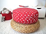 Red Round Floor Cushion Ottoman Pouf-Red White Polka Dots Toddler Floor Cushions Pouf -Nursery Decor - Kids Pouf-Meditation Floor Cushion