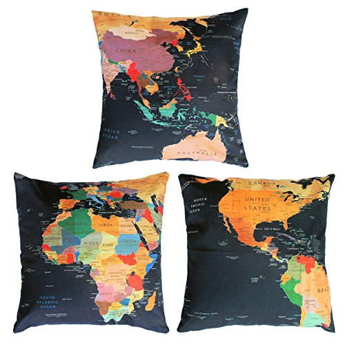 Decor MI [Just Pillowcase World Map Pattern Throw Pillow Case Square Linen Cushion Bed Pillow Covers with Zipper Durable Slipcover Home Decor for Sofa Slipcover Decorative 18x18 inches,Set of 3