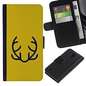 Be Good Phone Accessory // Caso del tirón Billetera de Cuero Titular de la tarjeta Carcasa Funda de Protección para Samsung Galaxy S4 IV I9500 // Yellow Abstract Moustache Mustard