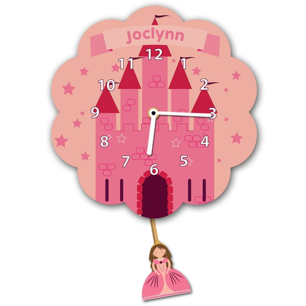 Girl's Customised Castle Silent Tick Wall Clock Forever Bespoke