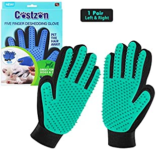 Pet Hair Remover Glove for Cat Dog, Pet Grooming Glove for Dog Cat Brush Gentle Shedding and Grooming Pet Supplies Massage Mitt Enhanced Five Finger Design Efficient for Long & Short Fur Pet, 1 Pair