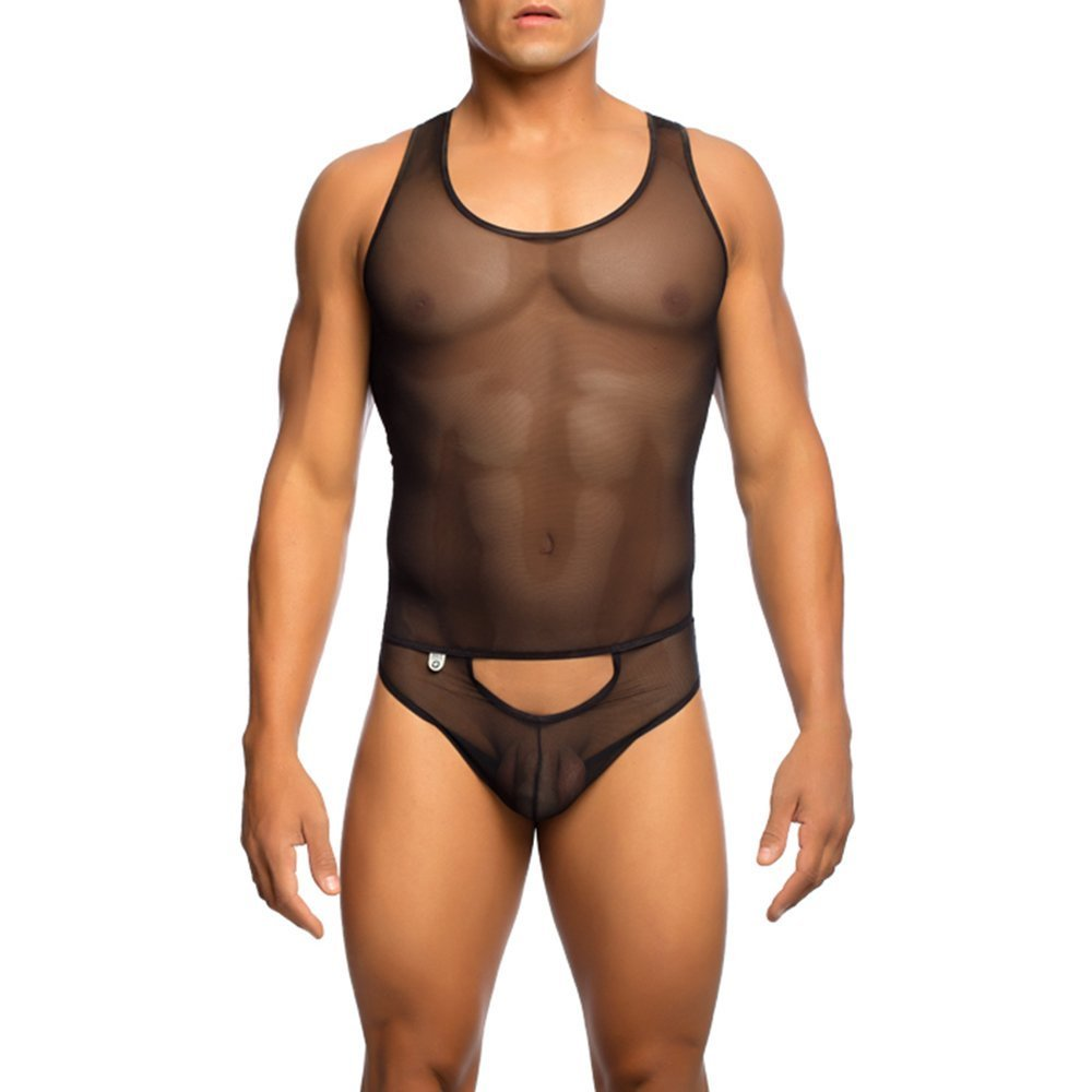 50190b27fe7e MALEBASICS Male Basics Sexy Body Mesh Unitard Black at Amazon Men's  Clothing store:
