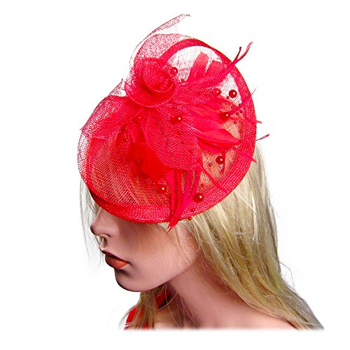 Red Hat Tea (Lady Feather Flower Pearl Fascinator Mesh Formal Cocktail Hat Hair Clip in Red)