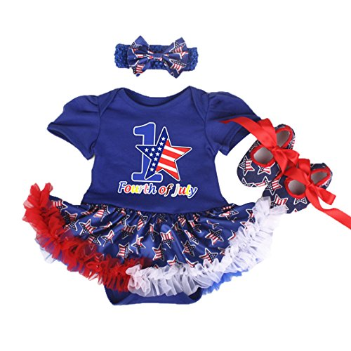 Blue Bodysuit Without Head (WINZIK 1st 4th of July Baby Girls 3pcs Outfits Set Stars Print Independence Day Romper Bodysuit Tutu Dress Headwear Shoes (3-6 Months, Blue)