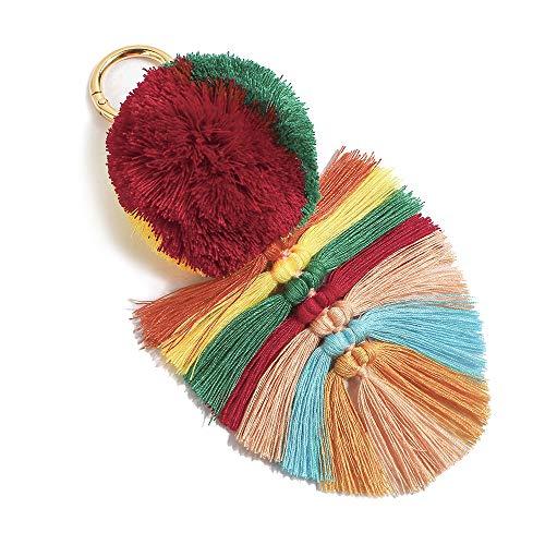 Colorful Boho Pom Pom Tassel Bag Charm Key Chain (U01 style)