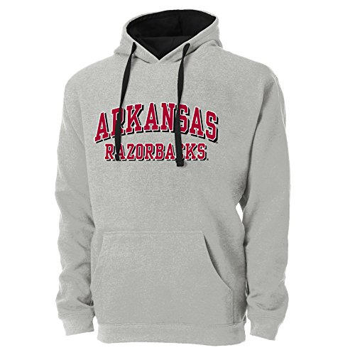 Ouray Sportswear NCAA Arkansas Razorbacks Mens NCAA University of Arkansas Colorblock Pullover Hoodie, Oxford/Black, Small