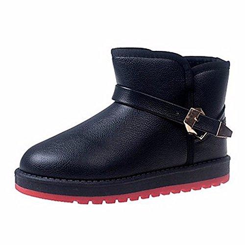 ZHUDJ Damen Schuhe Winter Stiefel Round Toe Mid-Calf Stiefel Für Casual Rot Rosa Schwarz Weiss Black