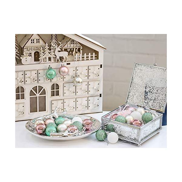 Valery Madelyn Palle di Natale 49 Pezzi 3 cm Palline di Natale, Elegante Palazzo Verde Menta e Oro Rosa Infrangibile Palla di Natale Ornamenti Decorazione per la Decorazione Dell'Albero di Natale 7 spesavip