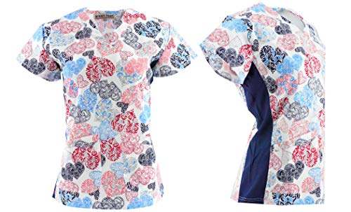 Valentine's Hearts Love Scrub Tops Size XS-2XL New Nursing Medical Holiday Print (M, Blue)